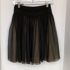 Black full mini skirt sheer silk Banana Republic